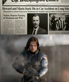 """I'm thinking it was the Winter Soldier who killed Howard and Maria Stark. I wonder how Tony would react if he found out. Like if Cap needs his help with Bucky and he knew what he did...would he be like """"no way"""" or would he  realize it wasn't Bucky's fault? <---Re-pinning for  this interesting theory."""