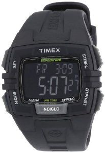 Timex Men's T49900 Expedition Rugged Wide Digital Chrono Alarm Timer All Black Resin Strap Watch Timex. $33.95. Digital quartz movement. Chronograph watch, acrylic crystal. Indiglo night-light. Water resistant to 50 M. Durable resin case with black dial. Save 38% Off!
