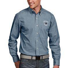 Vancouver Canucks Antigua Associate Woven Button-Down Long Sleeve Shirt - Navy - $64.99