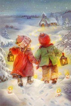 Рождественские Пейзажи, Рождественские Картинки, Рождественские Поделки, Винтажные Рождественские Открытки, Винтажные Картины, Винтажный Праздник, Винтажные Марки, Рождество В Старые Времена