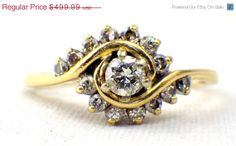 Vintage Diamond Engagement Ring, Round Cut, 14K Yellow Gold, Style159a