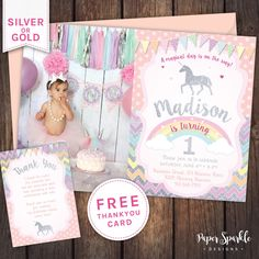 Now available in silver glitter effect! Choose either silver or gold for this magical Unicorn invitation design. We customise, you print