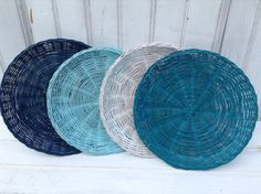 Wicker Paper Plate Holders FOUR Picnic Colorful Painted Upcycled Navy Teal White & Repurpose: wicker plate holders (ReFab Diaries) | Pinterest | Plate ...