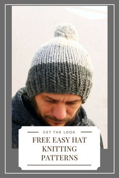 Make a mens striped beanie with this easy free knitting pattern.