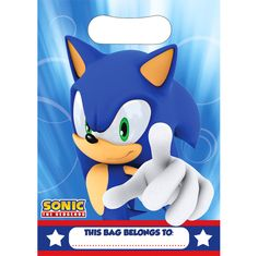 sonic the hedgehog partyplastic party bags£1.298pk