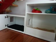 """Ikea hack: a kitty litter box with an intermediate """"carpet room"""" to get the rest of the litter off their feet before they exit. Complete with storage shelf, automatic lights and a """"made to fit"""" kitty litter tray!"""