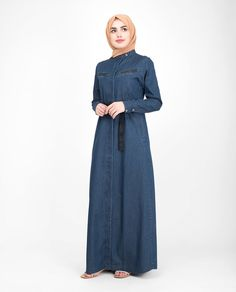 Urban Front Open Denim Jilbab- This is your on trend summer Jilbab design! In a delicate fine denim fabric with a waist belt and fasteners Denim Abaya, Kurung Peplum, Jeans Fabric, Abaya Designs, Islamic Clothing, Hijab Fashion, Cute Girls, High Neck Dress, Silk
