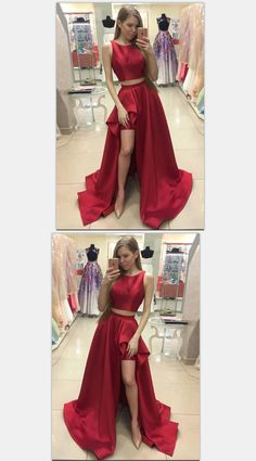 Elegant Two Pieces A-Line Prom Dresses,Long Prom Dresses,Cheap Prom Dresses, Evening Dress Prom Gowns, Formal Women Dress,Prom Dress