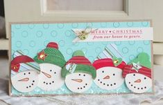 Cute snowman family card using Papertrey Ink snowman stamps & dies. Christmas Paper Crafts, Handmade Christmas, Christmas Crafts, Family Christmas, Winter Cards, Holiday Cards, Envelopes, Advent, Snowman Cards