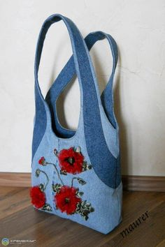 Embroidered denim bag jeans bag with ribbons embroidered recycled fabric sac summer floral purse shoulder bagful eco friendly tote bag – Artofit Denim Tote Bags, Denim Purse, Tote Pattern, Purse Patterns, Patchwork Bags, Quilted Bag, Blue Jean Purses, Navy Blue Handbags, Denim Crafts