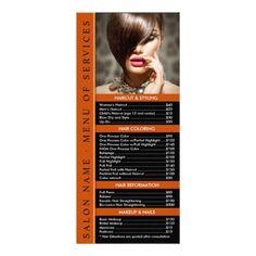Hair Or Nail Salon Rack Card Template Service Menu