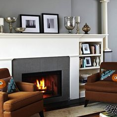 wood-burning fireplace with a mantel to decorate (bookshelves a nice plus)