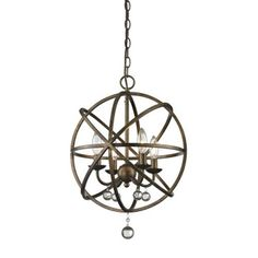 Acadia Golden Bronze and Clear Crystal Four-Light Pendant with -
