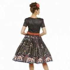 'Gina' Black Fireworks Print Swing Dress