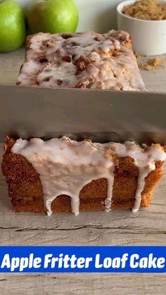 Apple Dessert Recipes, Fun Baking Recipes, Apple Recipes, Fun Desserts, Delicious Desserts, Yummy Food, Healthy Food, Apple Fritters, Apple Fritter Bread