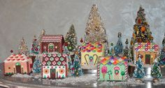 Gingerbread needlepoint houses