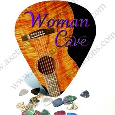 $21.99 Giant / HUGE Guitar Pick Wall Art Woman Cave by AxetremeCreations. Every man has a man cave, this year every woman can have one too. This giant pick is the perfect way to claim your space. It is a great gift for any woman who has a love for music and have a room to claim as her own.