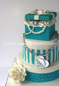 Luc & Lucy's Cupcakes – Bespoke cakes delivered in Surrey | Breakfast at Tiffany's Cake can be adopted to wedding cake | also, see our youtube channel for tutorials on some of our popular cakes https://www.youtube.com/channel/UC0qhkRbR1dw4ZhDWz2Rt-7A