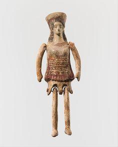 """Terracotta jointed """"doll"""" Period: Classical Date: 5th century B.C. Culture: Greek, Corinthian Medium: Terracotta Dimensions: H. 4 3/4 in. (12 cm)                                                                                 Period:                           ..."""