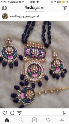 53 Ideas For Wedding Colors Silver Fun Pakistani Jewelry, Indian Wedding Jewelry, Indian Jewelry, Bridal Jewelry, Enamel Jewelry, Antique Jewelry, Silver Jewelry, Beaded Earrings, Beaded Jewelry
