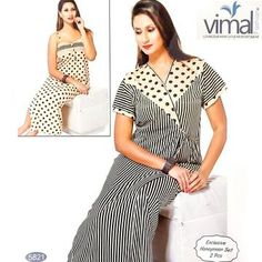 3fe021828b ... 2 Pcs Nighty Set - Zebra Stripes   Polka Dotted Nighty Set - - Satin  Silk Nighty by Vimal Fashion - Nighty Sets - diKHAWA Online Shopping in  Pakistan