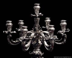 "A Luxurious ""One of a Kind"" Set of Gorgeous Sterling Silver Century Candelabra in Excellent Condition. You Can't Go Wrong Buying Quality ! Silver Candelabra, 19th Century, Chandelier, Ceiling Lights, Canning, Sterling Silver, Crystals, Luxury, Stuff To Buy"