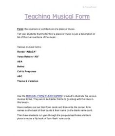 Teaching Musical Form by Theresa Preece PDF Elementary Music, Elementary Schools, Middle Schoolers, School Subjects, Music Classroom, Music Theory, Teaching Music, Music Posters, Music Lessons