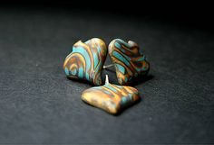 polymer clay pin earrings - leaves, used gold and blue