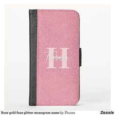 Rose gold faux glitter monogram name iPhone XS wallet case Iphone Wallet Case, Card Wallet, Iphone Case Covers, Glitter Phone Cases, Phone Card, Glitter Background, Block Lettering, Monogram Letters, Rose Gold