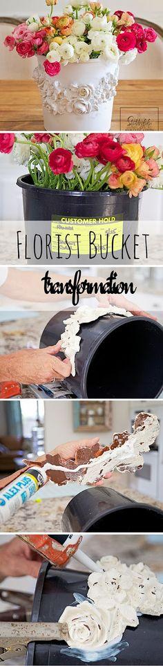 Florist Bucket Transformation.  My beautiful trash to treasure find featured on Shabby Fufu Blog.
