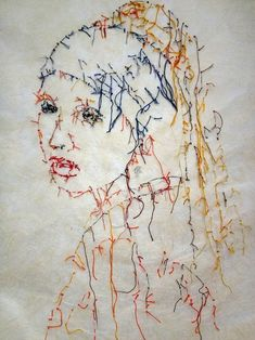 Embroidery Art by Guacolda - Art Fucks Me Portrait Embroidery, Embroidery Art, Embroidery Designs, Thread Art, Thread Painting, Sculpture Textile, Mona Lisa, Contemporary Embroidery, Textiles