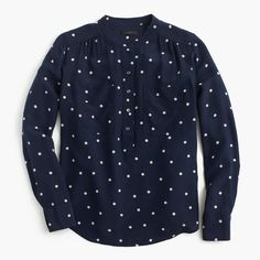 Silk popover shirt in polka dot