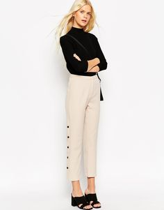 Image 1 of ASOS Straight Leg Pant with Button Detail
