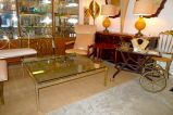 70's Chic -- brass coffee table + lamps +  bar cart