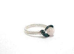Ring ~ Silber/Grün mit Rosenquarz