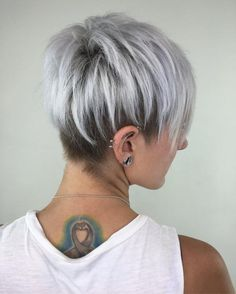 Short Grey Hair Styles Amazing Silver Pixie Cut with Layered Lowlights … Hair – Hairstyles IDEA Short Silver Hair, Silver Grey Hair, Short Grey Hair, Silver Blonde, Short Blonde, Short Hair Cuts, Short Hair Styles, Funky Short Hair, Funky Hairstyles