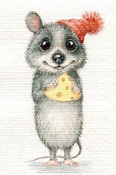 Новости Sweet Drawings, Cute Animal Drawings, Art Drawings, Cute Rats, Pet Mice, Cute Mouse, Whimsical Art, Christmas Pictures, Cute Illustration
