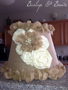 Shabby Chic Burlap and Cream Lampshade via Etsy