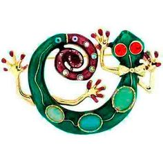 Brooches Store Green Enamel, Crystal and Cats Eye Lizard Ghecko Brooch