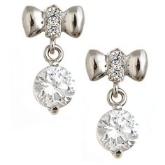 Fit for a Princess 14K White Gold Bow Dangle Screw Back Children's Earrings from The Jewelry Vine
