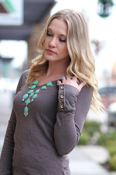 Call Me Grey Long Sleeve Button Up Top