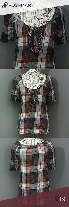 """Abercrombie & Fitch Woven Cotton Peplum Plaid Top Reasonable offers always considered on items over $15. Bundle discount available! No trades.  Super cute and very gently worn, lightweight, woven Abercrombie & Fitch top. About half length sleeves, front features half button down with ruffle accents. Gathering at base of blouse with slight peplum flare. Red, white and blue (4th of July!) Scotch plaid with smaller checkered plaid on inside. Fabric has some stretch. Bust 16.5"""" flat, 24"""" length…"""
