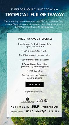 Enter for your chance to win a Tropical Fiji Getaway with DeluxHair's affiliate partner bareMinerals & Delux Designs (DE), LLC affiliate partner Affiliate Partner, Natural Haircare, Shangri La, Stay The Night, Bareminerals, Fiji, Natural Hair Styles, Tropical, How To Get