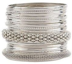 Stainless Steel and Sterling Silver Bangle Bracelets and Cuffs, stainless Steele is getting more popular. Cuff Jewelry, Silver Bangle Bracelets, Bracelet Set, Jewelry Box, Jewelery, Silver Jewelry, Jewelry Accessories, Fashion Accessories, Bollywood Jewelry