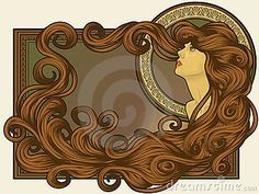 Art Nouveau styled woman's face with long detailed flowing hair