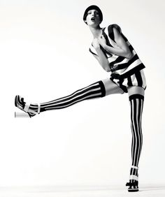 Graphic ImpactYikes, stripes! These new pieces are banded and brazen  Top, $795, and shorts, $675, Dolce & Gabbana. 877-70-DGUSA. Shoes, Prada. 888-977-1900. Tights, stylist's own. Black and White Fashion Shoot - Spring 2013 Black and White Fashion Editorial - Harper's BAZAAR