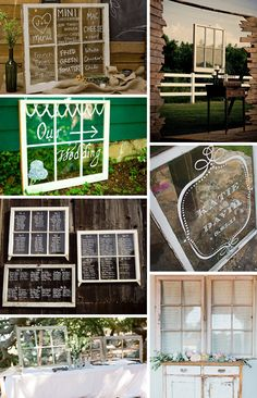 creative and easy table card ideas....old window frames written in white marker on clear glass, inventive, different, think outside the box