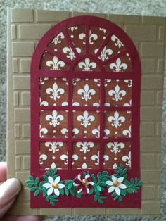 Susan Garden window die with embossed brick card, punched flowers and leaves. Decorative pattern paper for wallpaper.