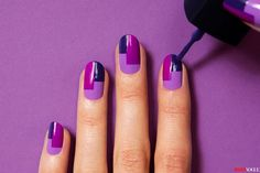 Nail Art Of The Day: DIY Retro Matte Nails. We stumbled upon this fabulous matte nail art and we can't stop talking about it. Purple Nail Art, Matte Nail Art, Black Nail Art, Nail Art Diy, Easy Nail Art, Nail Art Stripes, Striped Nails, Simple Nail Art Designs, Nail Designs