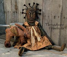 PATTERN Primitive Large Folk Art Doll & Bunny Rabbit Doll Heart Ornie Pull Toy | eBay Primitive Patterns, Primitive Folk Art, Primitive Crafts, Folk Embroidery, Embroidery Patterns, Decorative Hand Towels, African American Dolls, Pull Toy, Fabric Dolls